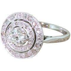 Art Deco 0.76 Carat Old Cut Diamond Double Halo Cluster Ring