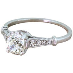 Art Deco 0.78 Carat Old Cut Diamond Engagement Ring