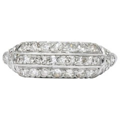 Art Deco 0.80 Carat Diamond Platinum Stackable Ring