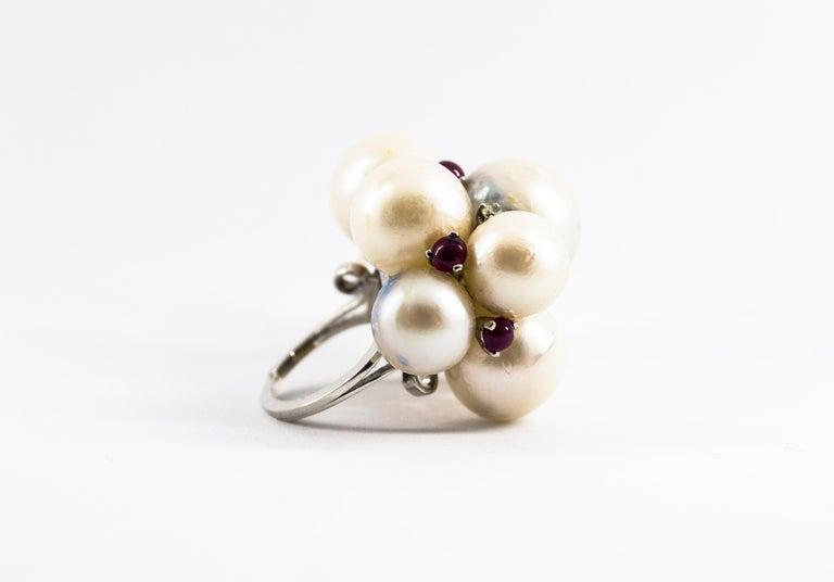 Women's or Men's Art Deco Style 0.80 Carat Diamond Ruby Australian Pearl White Gold Cocktail Ring For Sale