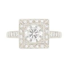 Art Deco 0.80 Carat Diamond Cluster Ring, circa 1930s