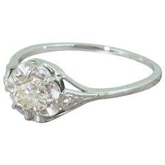 Art Deco 0.82 Carat Old Cut Diamond Engagement Ring