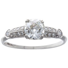 Art Deco 0.83 Carat Diamond Platinum Engagement Ring