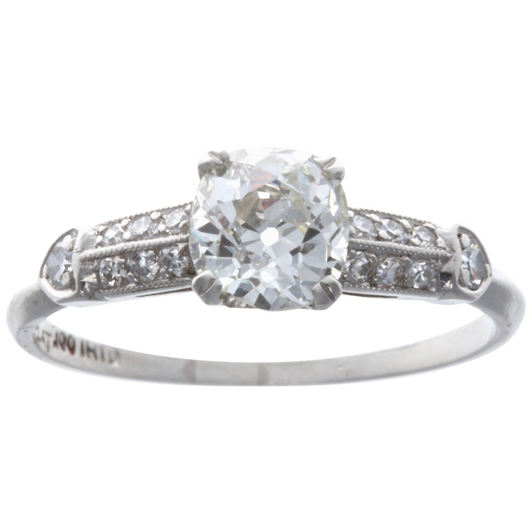Art Deco 0.83 Carat Diamond Platinum Engagement Ring For Sale