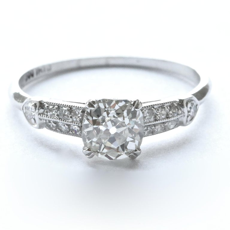 If Scott Fitzgerald's novels make your heart beat faster, and social gatherings brighten your day, this diamond platinum ring is for you. Art Deco, a time of elegance, cocktails, and night clubs. All captured in this very elegant, yet unique ring.