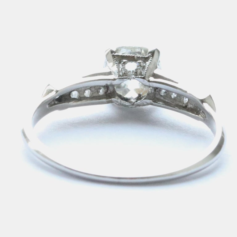 Art Deco 0.83 Carat Diamond Platinum Engagement Ring For Sale 1