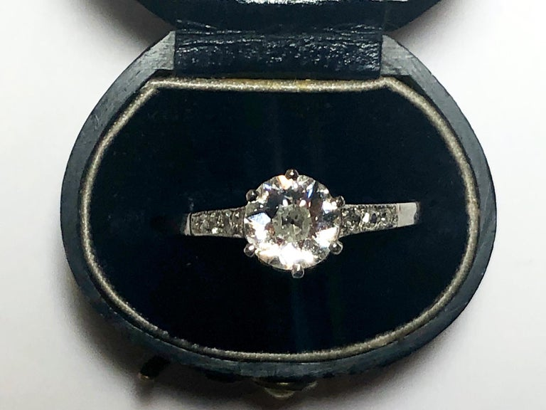 Women's or Men's Art Deco 0.84 Carat Diamond Platinum Single Stone Ring For Sale