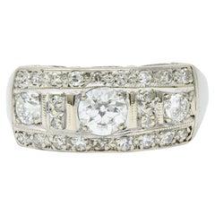 Art Deco 0.85 Carat Diamond 14 Karat White Gold Band Ring