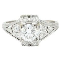 Art Deco 0.85 Carat Diamond Platinum Dinner Engagement Ring