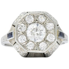 Art Deco 0.85 Carat Diamond Synthetic Sapphire 18 Karat White Gold Cluster Ring