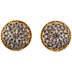 Art Deco 0.85 Carat White Rose Cut Diamond Yellow Gold Clip-On Dangle Earrings