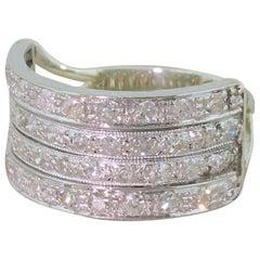 Art Deco 0.86 Carat Diamond Four-Row Ring