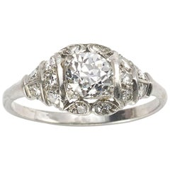 Art Deco 0.86 Carat Old Cut Diamond Platinum Ring