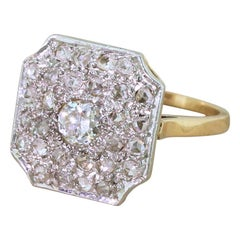 Art Deco 0.87 Carat Old Cut and Rose Cut Diamond Cluster Ring