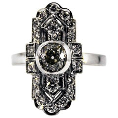 Art Deco Style 0.90 Carat Central Diamond 0.54 Carat Diamond White Gold Ring
