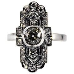 Art Deco 0.90 Carat Central Diamond 0.54 Carat Diamond White Gold Cocktail Ring