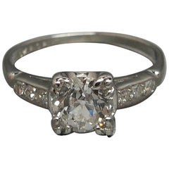 Art Deco 0.90 Carat European Cut Diamond Platinum Ring