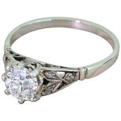 Art Deco 0.91 Carat Old Cut Diamond 18 Karat Gold Engagement Ring