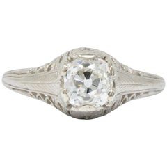 Art Deco 0.92 Carat Diamond 18 Karat White Gold Solitaire Engagement Ring GIA