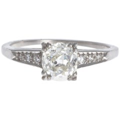 Art Deco 0.92 Carat Diamond Platinum Ring