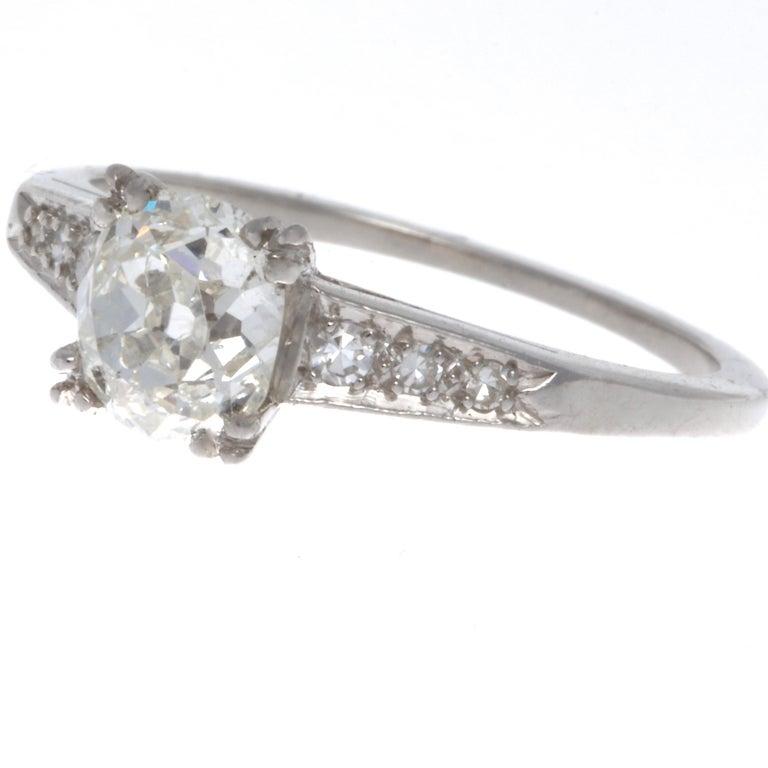 Art Deco 0.92 Carat Diamond Platinum Ring In Excellent Condition In Beverly Hills, CA