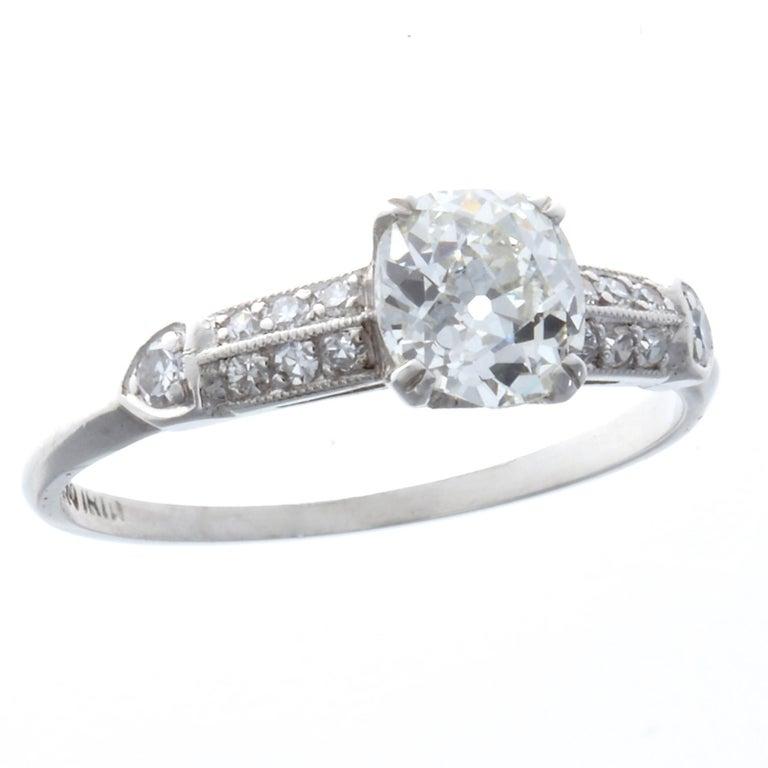 Art Deco 0.92 Carat Diamond Platinum Ring 1