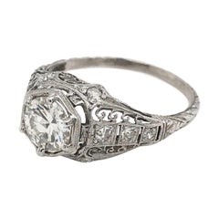 Art Deco 0.93 Carat Filigree Diamond Engagement Ring