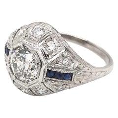Art Deco 0.94 Carat Diamond and Sapphire Platinum Ring