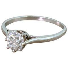 Art Deco 0.94 Carat Old Mine Cut Diamond Platinum Engagement Ring