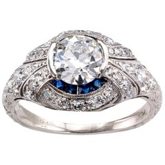 Art Deco 0.95 Carat GIA Certified Diamond Sapphire Platinum Engagement Ring