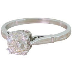 Art Deco 0.96 Carat Old Mine Cut Diamond White Gold Engagement Ring