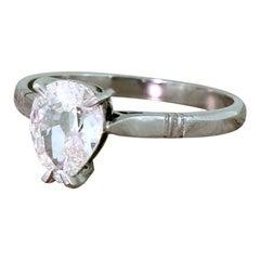 Art Deco 0.97 Carat Old Pear Cut Diamond Platinum Engagement Ring