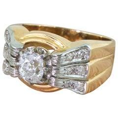 Art Deco 0.98 Carat Old Mine Cut Diamond Ring, French, circa 1925