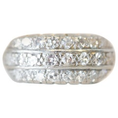 Art Deco 1 Carat 3-Row Antique Singlecut Diamond Platinum Ring, circa 1930s