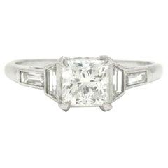 Art Deco 1 Carat Certified Princess Diamond Engagement Ring Platinum Solitaire