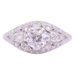 Art Deco 1 Carat Old European Cut Diamond Floral Engagement Ring, circa 1920s