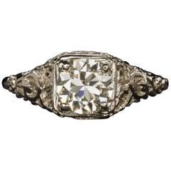 Art Deco 1 Carat Old European Diamond Ring