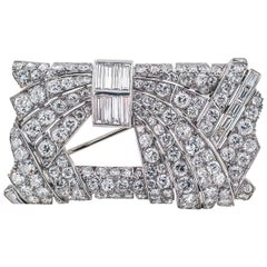 Art Deco 10 Carat Diamond Platinum Brooch
