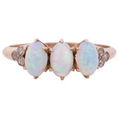 Art Deco 10 Karat Rose Gold Opal and Diamond 3-Stone Vintage Ring