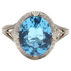 Art Deco 10 Karat White Gold, Blue Topaz Filigree Ring