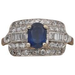 Art Deco 1.00 Carat Natural Sapphire 1.0 Carat Diamond Rare Panel Ring
