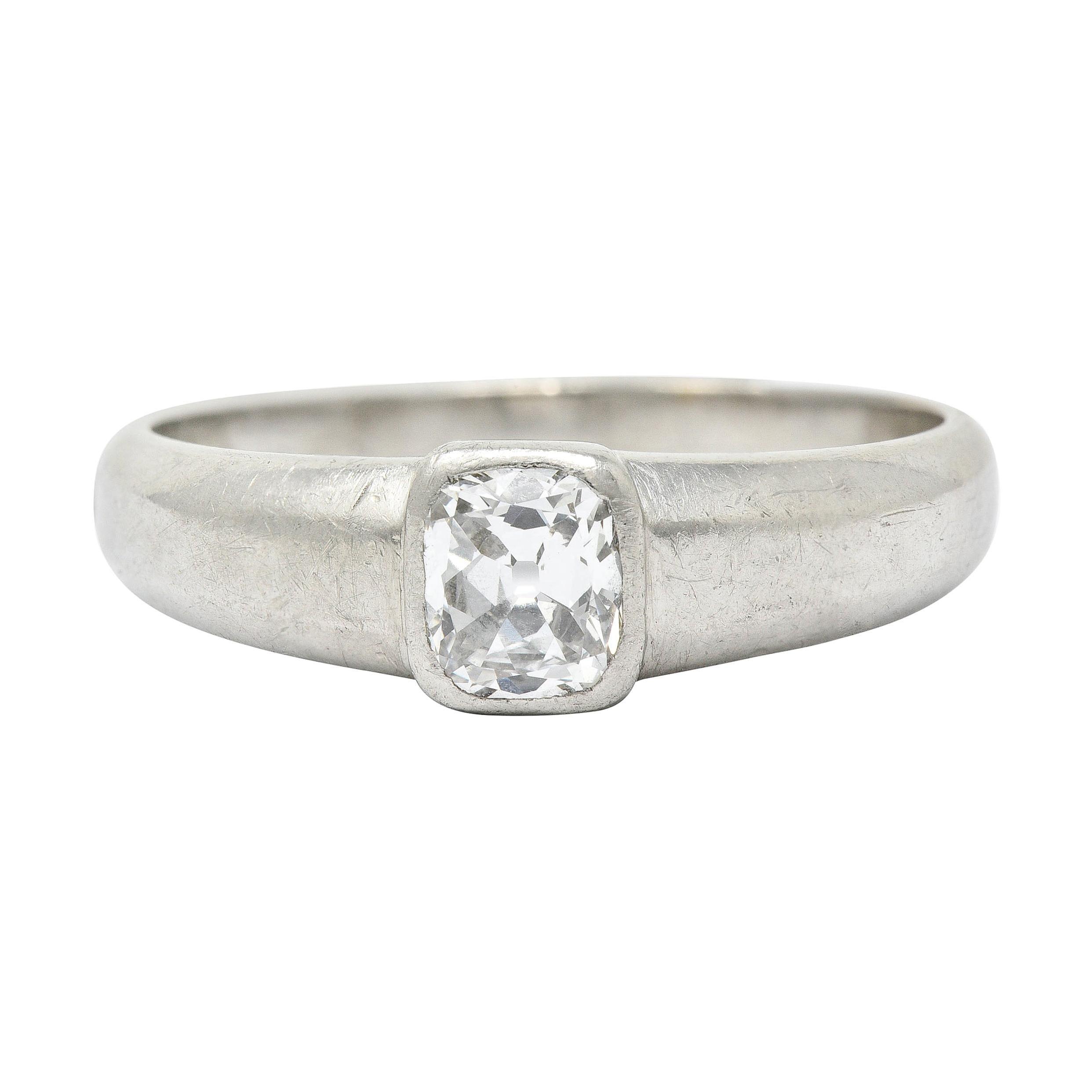 Art Deco 1.00 Carat Old Mine Diamond Platinum Men's Band Ring