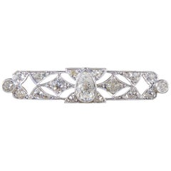 Art Deco 1.00 Carat Pear Shaped Diamond Brooch in Platinum