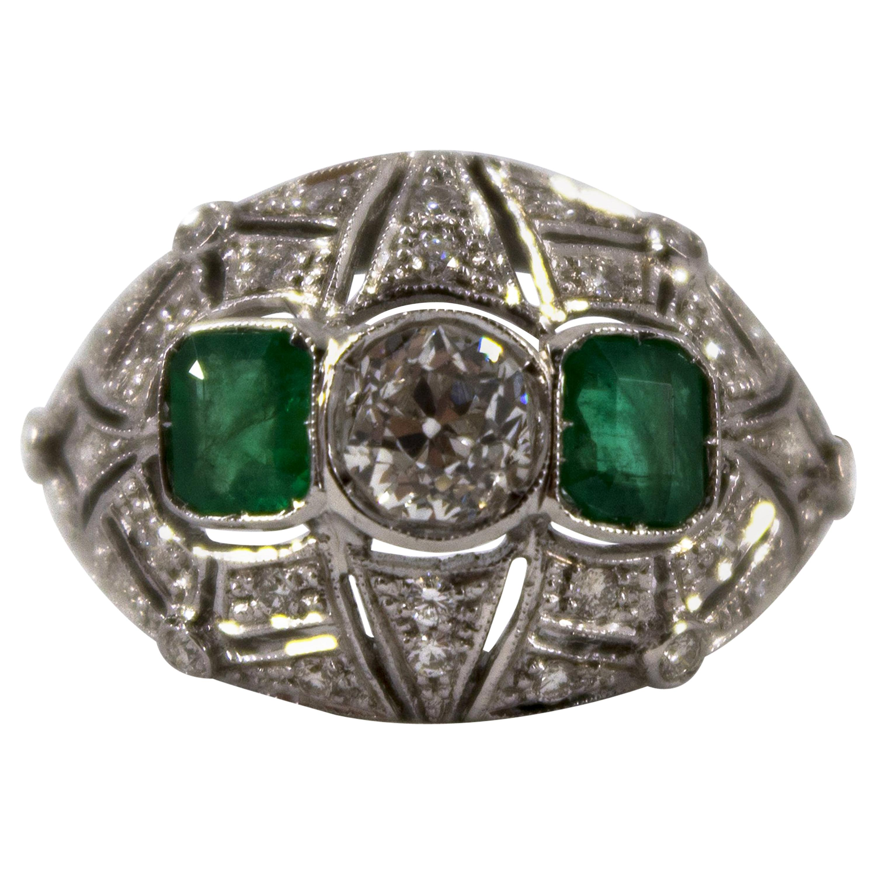 Art Deco Style 1.00 Carat Modern Cut Diamond 0.60 Carat Emerald White Gold Ring