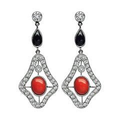 Art Deco 1.00ct Diamond Coral Onyx Dangling Earrings