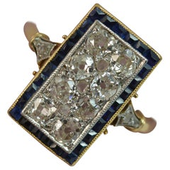 Art Deco 1.00ct Old Cut Diamond and Sapphire 18ct Gold Panel Cluster Ring