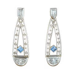 Art Deco 1.01 Carat Montana Blue Sapphire Diamond Platinum Earrings