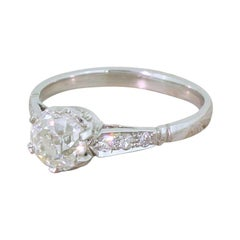 Art Deco 1.01 Carat Old Cut Diamond Engagement Ring
