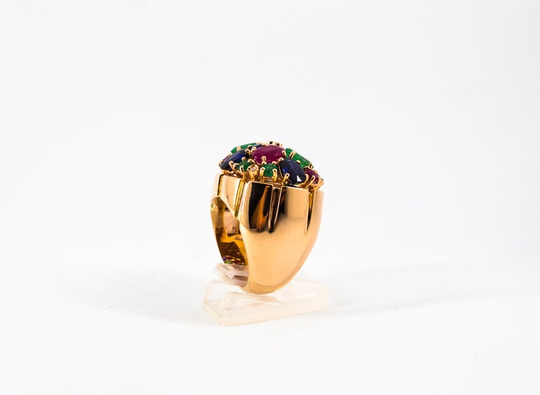 Art Deco Style 10.15 Carat Diamond Ruby Emerald Sapphire Yellow Gold Ring For Sale 5