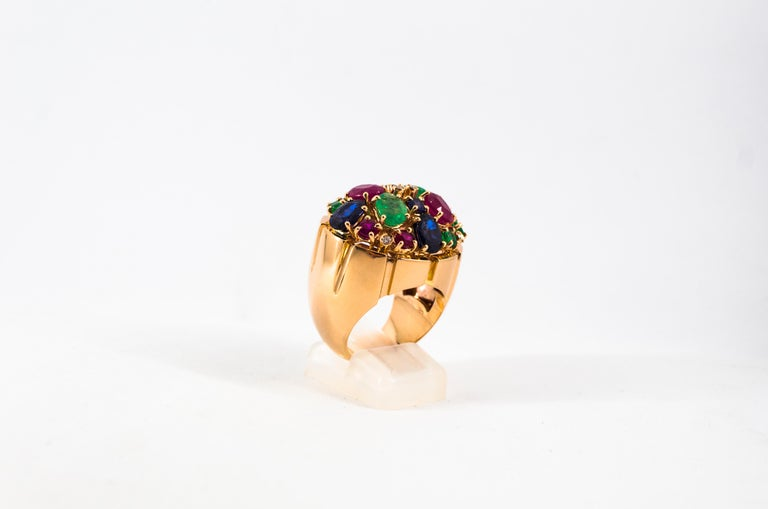 Art Deco Style 10.15 Carat Diamond Ruby Emerald Sapphire Yellow Gold Ring For Sale 6